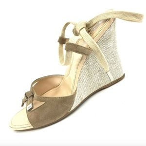 Tods Beige Suede Canvas Ankle Strap Wedge Sandals